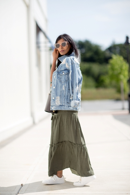 Picture Of With olive green maxi skirt and white sneake