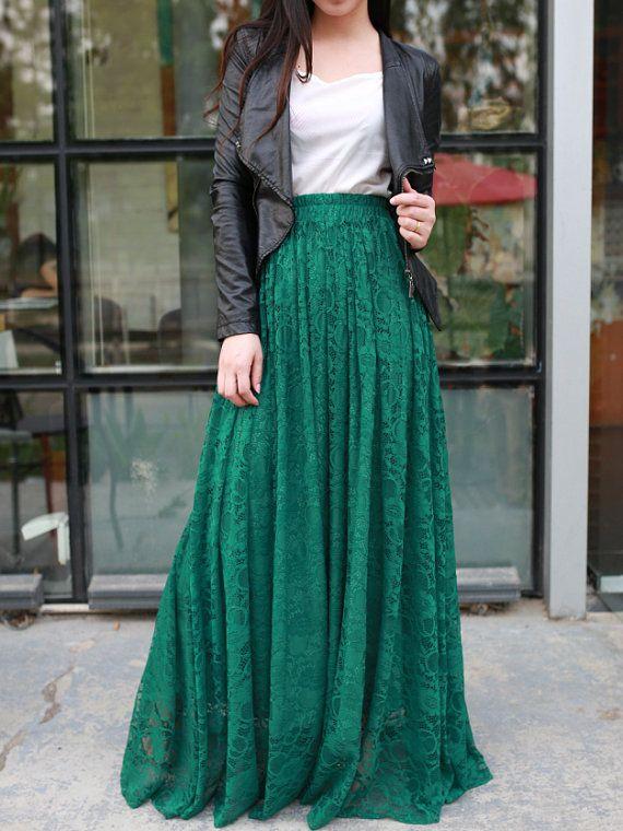 Jade green floor length plus size maxi skirt lace skirt elastic .