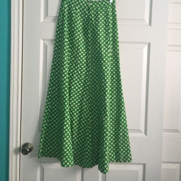 Vintage Skirts | Green White Floral Maxi Skirt | Poshma