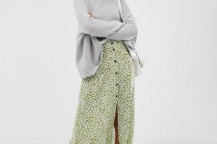 ASOS DESIGN button front maxi skirt in green floral print | AS