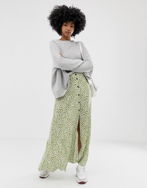 Green White Maxi Skirt