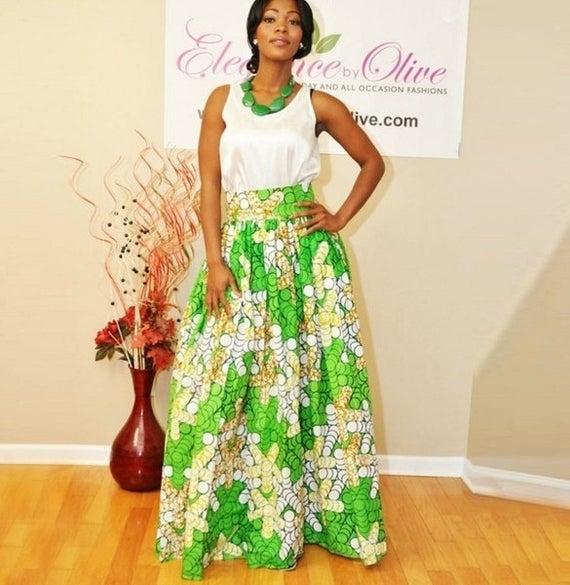 Maxi skirt green/white Maxi skirt printed African loincloth | Et