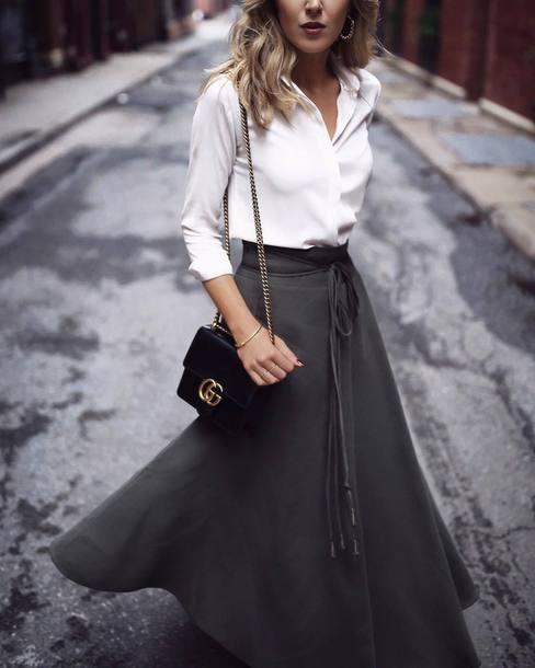 skirt, tumblr, maxi skirt, green skirt, khaki, bag, black bag .