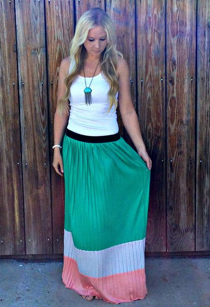 Color Block Maxi Skirt. IN LOVE!!! $34. www.sevenandcoboutique.com .