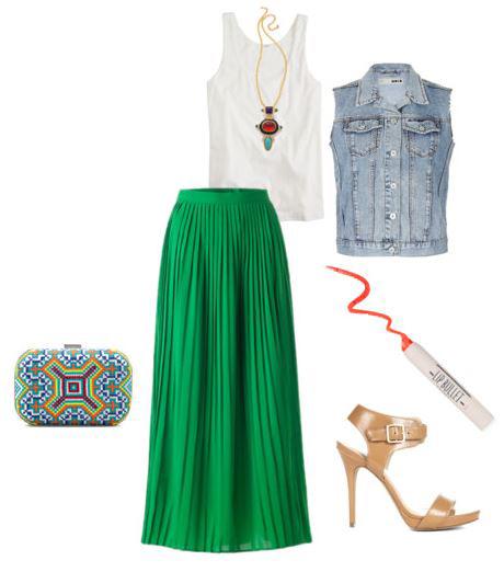 Emerald green maxi skirts | HOWTOWEAR Fashi