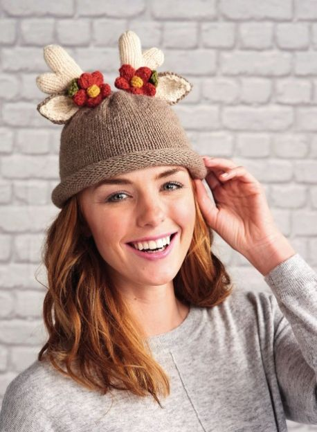 Free Knitting Pattern for a Reindeer Hat And Headband For Adults .