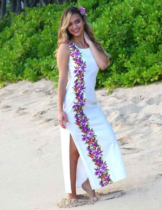 Maxi Wedding Hawaiian Dress Side Design Manele: Shaka Time Hawaii .