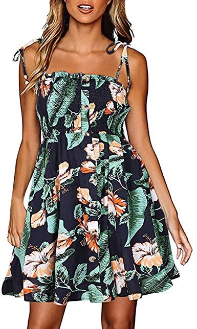Rucan Womens Hawaiian Dresses Off The Shoulder Floral Short Sleeve .