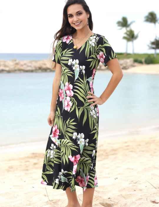 Nalani Long Rayon Hawaiian Dress Maxi V-Neck Tea Length: Shaka .