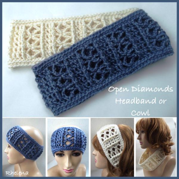Wide Crochet Headband - Open Diamonds - CrochetNCraf