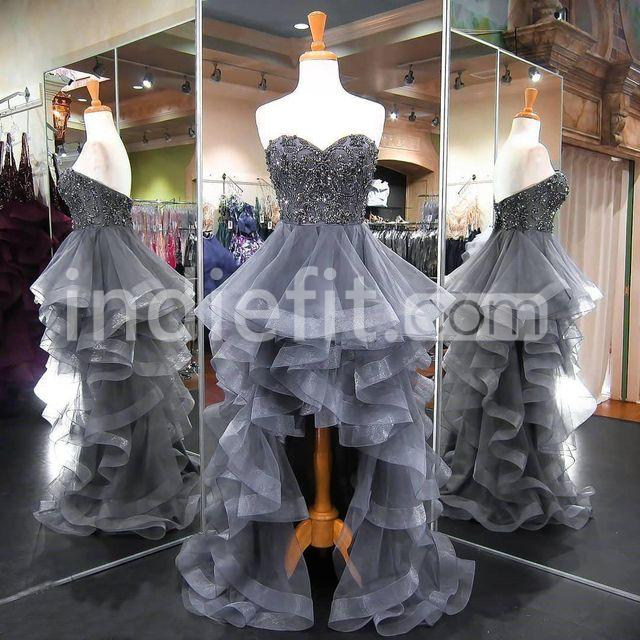 $181.99 Grey Long High-Low Prom Dresses 2020 Sleeveless For Short .