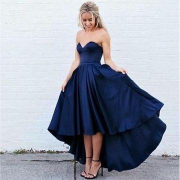$109.99 Dark Navy Long High-Low Prom Dresses 2020 A-line Sleevele