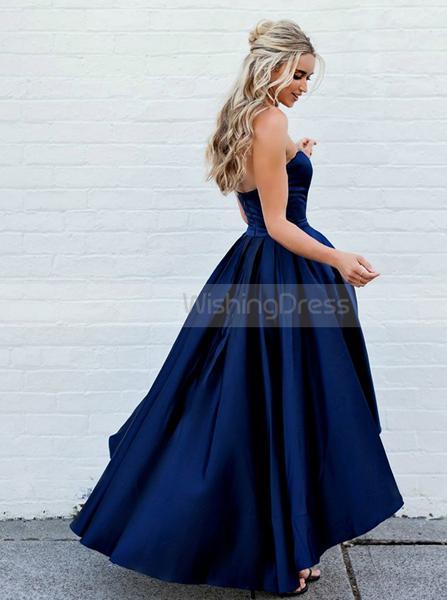 A line High Low Prom Dress,Dark Navy Homecoming Dress,Sweetheart .