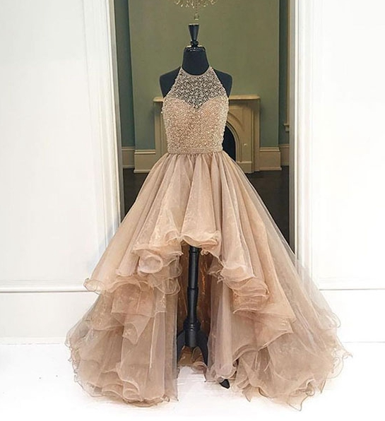 Formal Dress | Charming champagne high-low prom dresses ,evening .