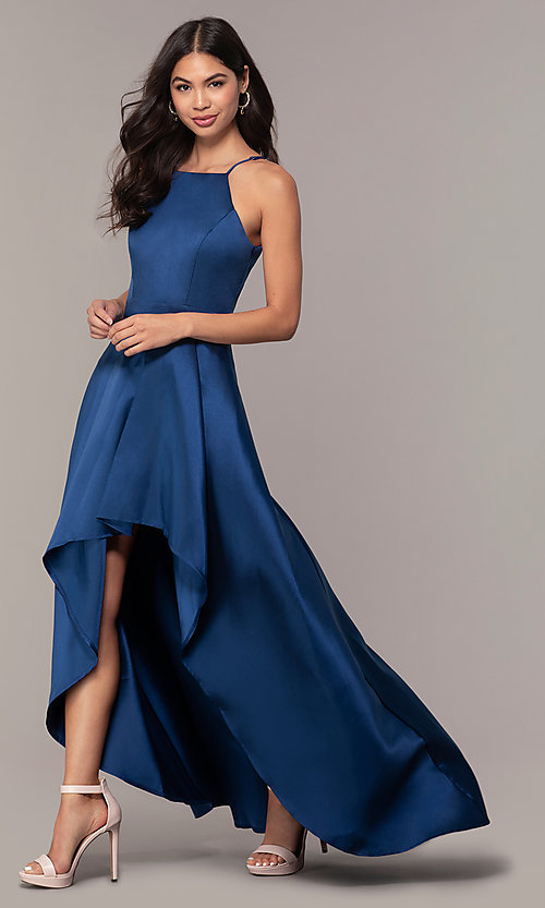 Cheap Satin Prom Dress with Long High-Low Ski