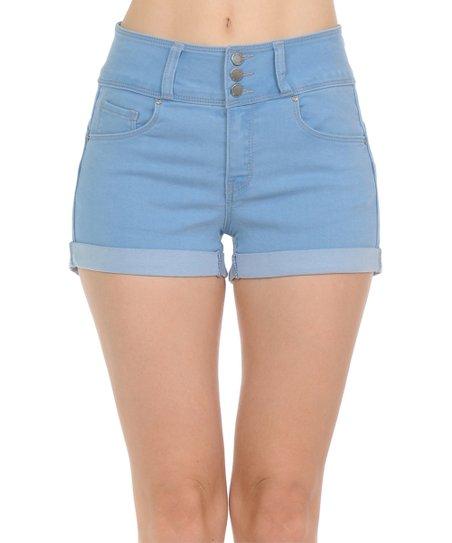 Wax Jean Light Blue Three-Button Push-Up High-Waist Shorts - Women .