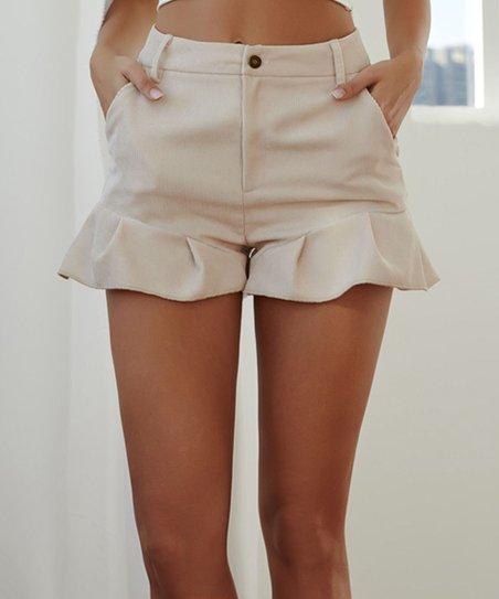 Sucrefas Beige Ruffle-Hem Pocket High-Waist Shorts - Women | Zuli