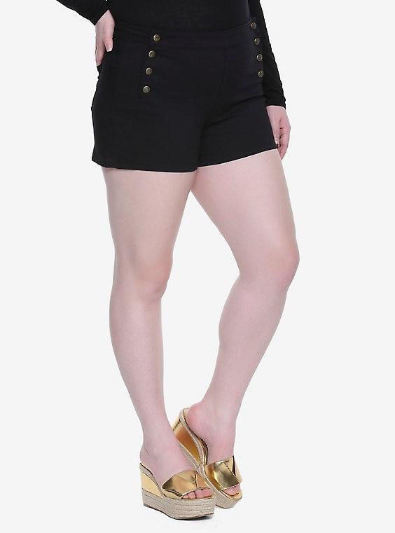 Blackheart Black High-Waisted Sailor Shorts Plus Si