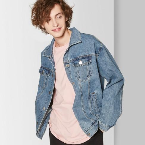 Men's Long Sleeve Vintage Wash Jean Jacket - Original Use™ Indigo .