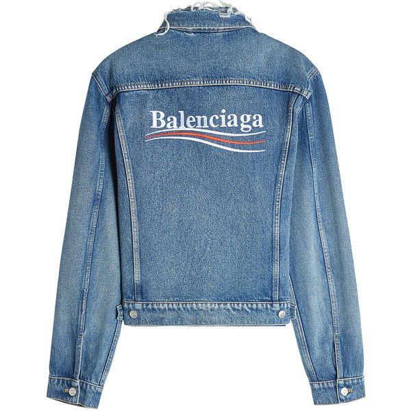 Balenciaga Political Denim Jacket (4,185 SAR) ❤ liked on Polyvore .