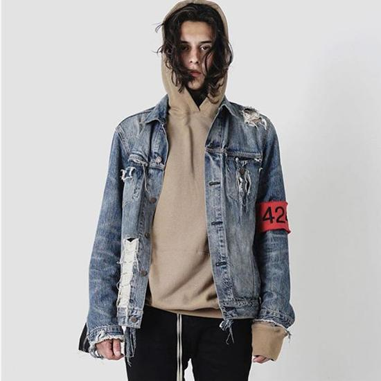 424 Denim Biker Jacket For Men Hip Hop Ripped Distressed Jean .