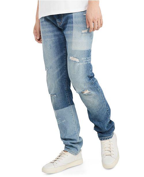 Tommy Hilfiger Men's Slim-Fit Tapered Laser Patchwork Jeans .