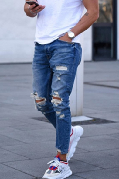 Street Trendy Cool Knee Cut Blue Slim Distressed Ripped Jeans for .