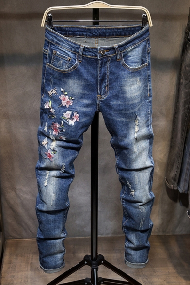 Popular Vintage Floral Embroidery Distressed Ripped Stretch Slim .
