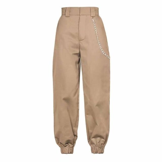 chain woman khaki pants women high waist pants trousers joggers .