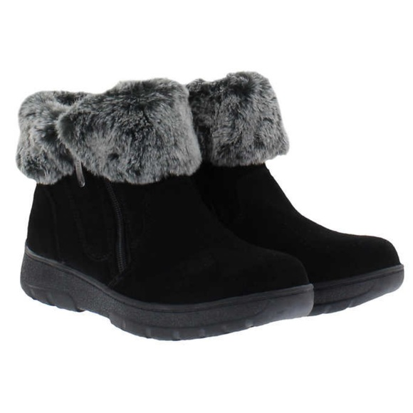 Khombu Shoes | Nib Jessica Fur Short Suede Boots Black | Poshma