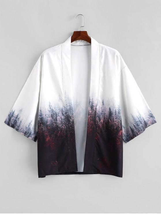 41% OFF] [HOT] 2020 Forest Painting Print Open Front Kimono .