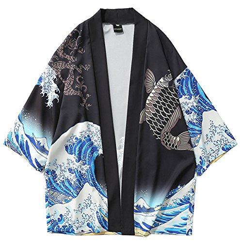 ❤ The best LifeHe Men's Japan Kimono Cardigan Casual Open Front .