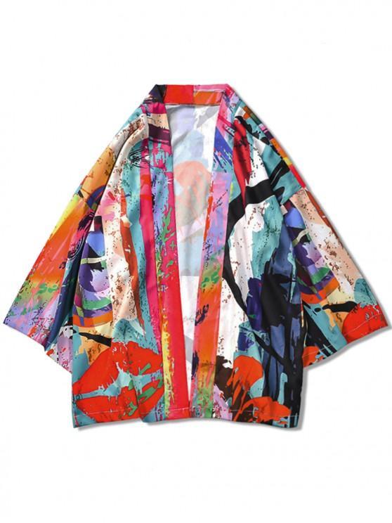 46% OFF] 2020 Color Painting Print Casual Kimono Cardigan In MULTI .