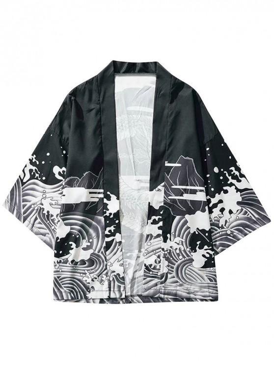 76% OFF] 2020 Dragon And Wave Print Collarless Kimono Cardigan In .