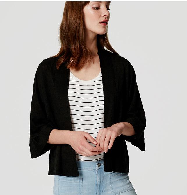 LOFT Petite Linen Kimono Cardigan, $44 | LOFT | Lookastic.c