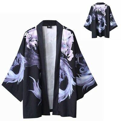 Men Japanese Kimono Cardigan Open Front Loose Oriental Coat Retro .
