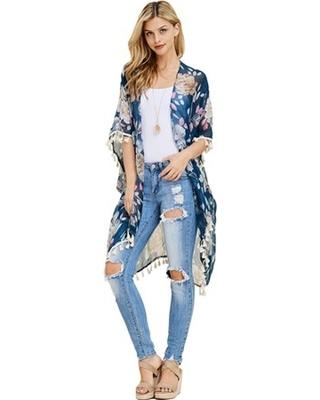 BIG Deal on Women's Floral Tassel Kimono Cardig