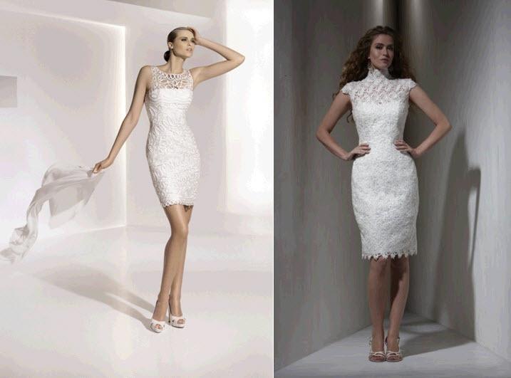 Sleek and form-fitting knee-length wedding dress