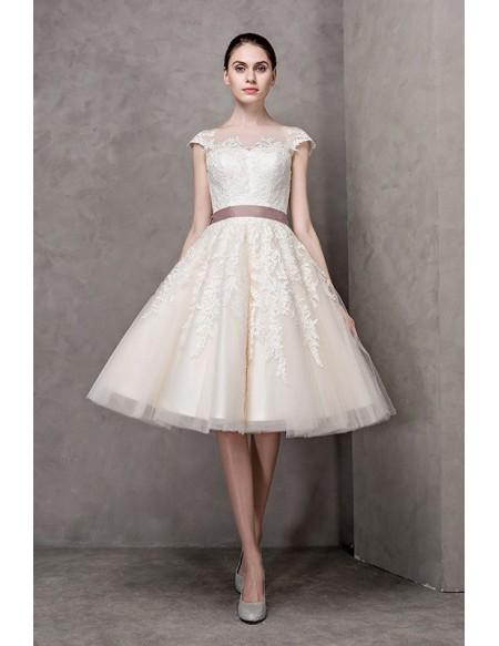 Vintage Short Wedding Dresses Lace Cap Sleeves Ivory High Neck .
