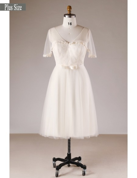 Champagne Simple Plus Size Knee Length Short Tulle Wedding .