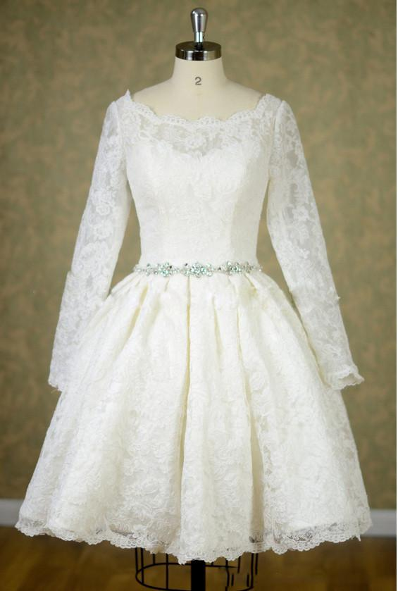 Short Knee Length Lace Long Sleeves Wedding Dress with Jeweled .