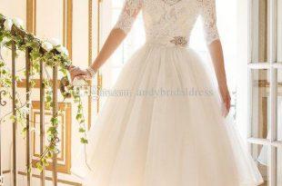Discount 2019 Gorgeous Ivory Knee Length Wedding Dresses A Line .