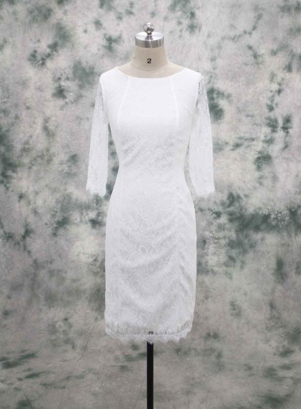 Ivory Lace Knee Length Wedding Dress Long Sleeve|FB-101|Sheath .