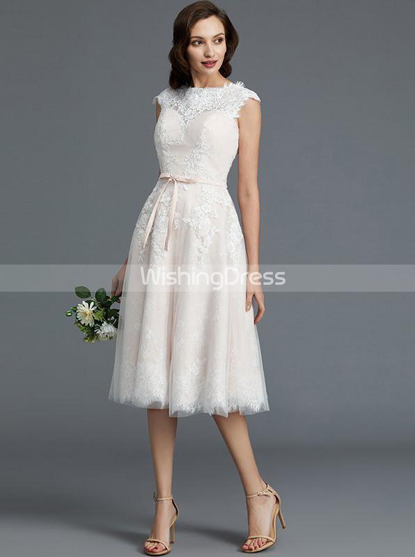 Blush Wedding Dresses,Knee Length Wedding Dress,Vintage Wedding .