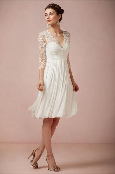 Lace And Chiffon Knee Length Wedding Dress with Full Sleeves and .