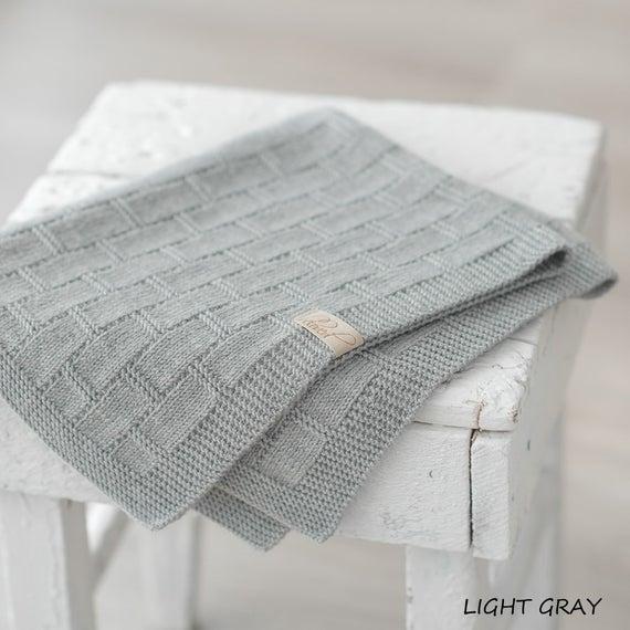 Grey Baby Blanket Hand Knitted Baby Blanket Merino Wool Baby   Et