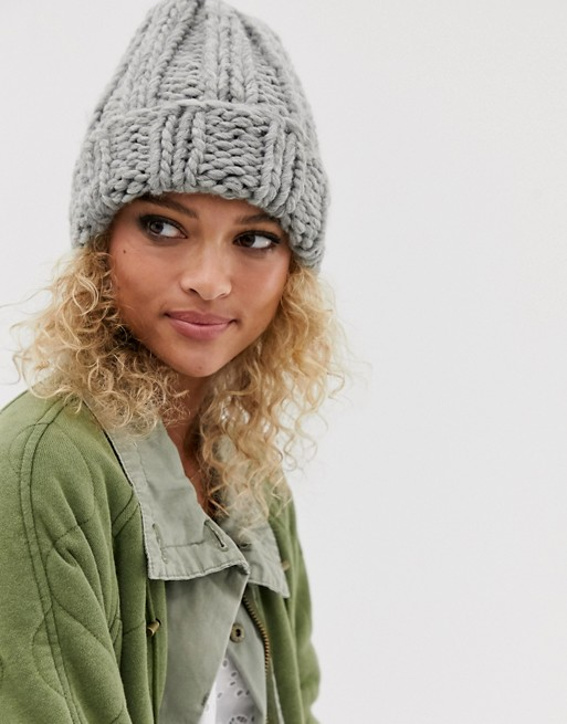 ASOS DESIGN chunky knit beanie hat in gray | AS