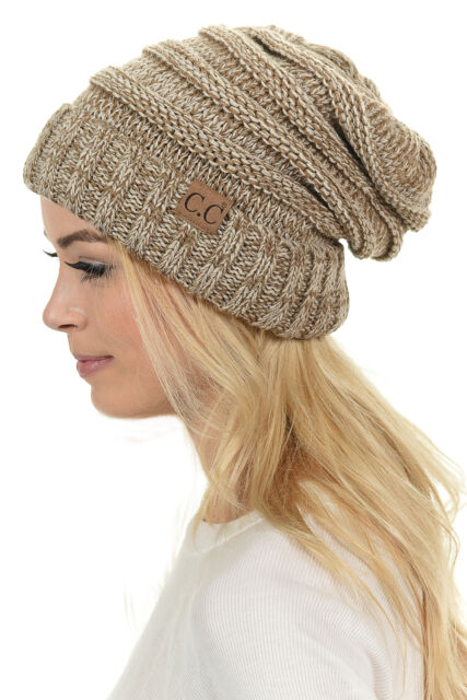 Oversized Slouchy Beanie a Fire Rust Tricolor Mix Crocheted Cable .