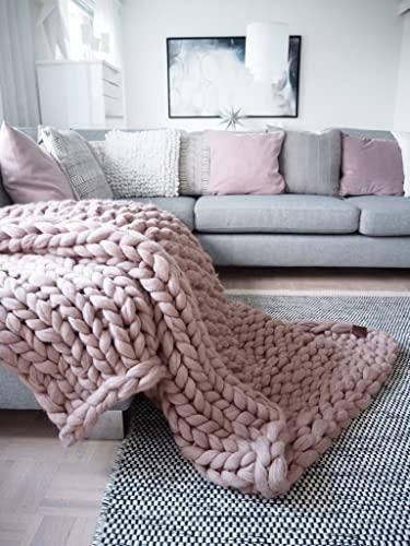 Amazon.com: Chunky Knit Blanket. Throw Blanket. Merino Wool .