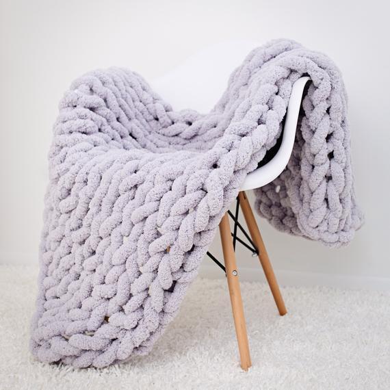 Chunky knit blanket Jumbo chenille Blanket Chunky Chenille | Et